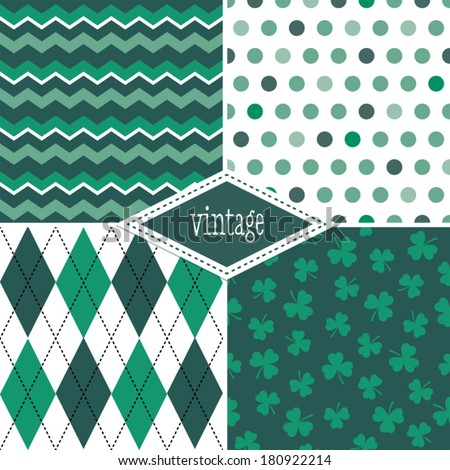 Set of seamless background patterns in green and white for St Patrick's Day, Father's Day, Christmas, gift wrapping paper, wallpapers, scrapbook. - stock vector