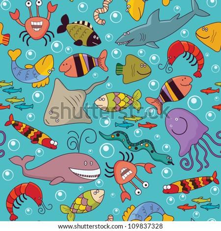 Set of seamless background - underwater wildlife, marine animals, cartoon concept - stock vector