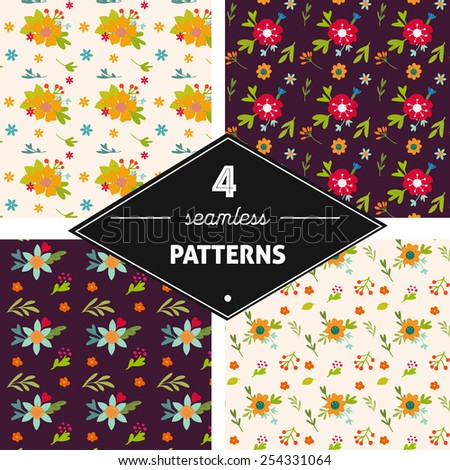 Set of seamless background with vintage hand drawn flowers  - stock vector