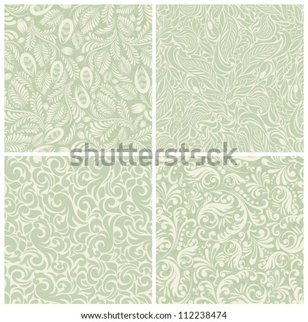 Set of seamless backgrounds baroque - stock vector