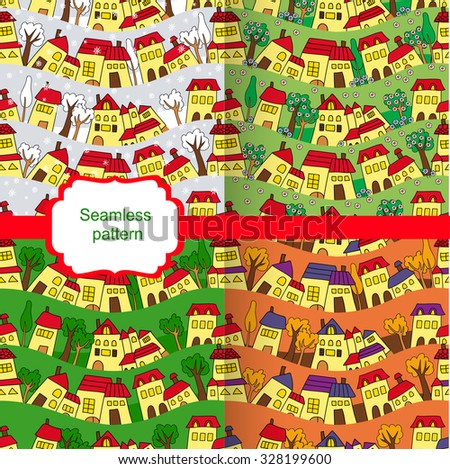 Set of seamless backgrounds house, seasons winter, fall, summer, spring - stock vector