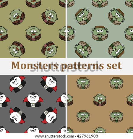 Set of seamless backgrounds with cartoon monsters, Dracula, zombies and Frankenstein - stock vector