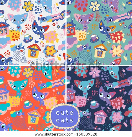Set of 4 seamless backgrounds with cats and fishes. Vector illustration. Seamless pattern can be used for wallpaper, pattern fills, web page background, surface textures