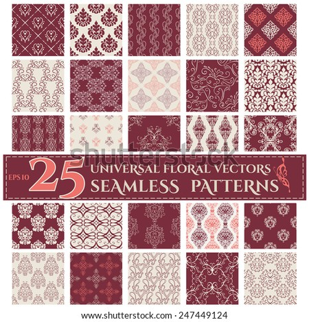 Set of Seamless Backgrounds with Vintage Calligraphic Floral Patterns. Vector illustration - stock vector