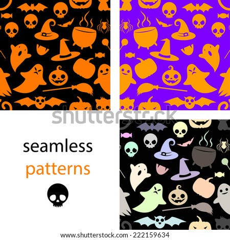 Set of seamless black, multi-colored and orange patterns with cute cartoon pumpkin, Ghost, cat, pot, hat, broom, candy, bat, spider, skull - stock vector
