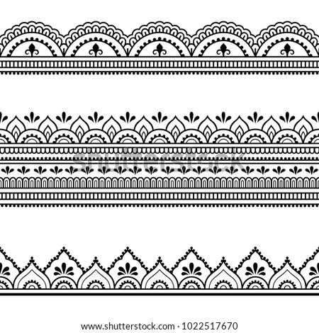 set seamless borders design application henna stock vector royalty free 1022517670 shutterstock. Black Bedroom Furniture Sets. Home Design Ideas