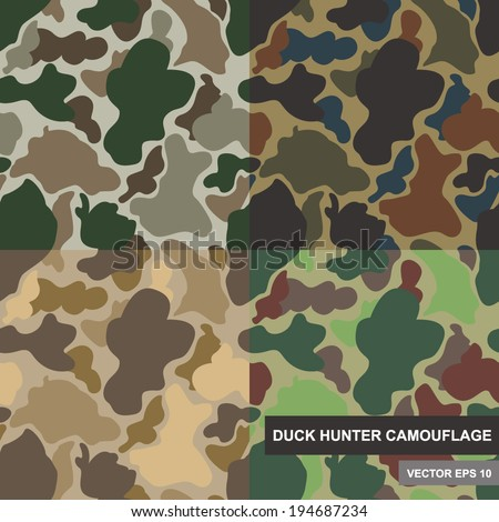 Set of seamless camouflage pattern. Duck hunter camouflage pattern. Various scheme of camouflage pattern. EPS10 camouflage pattern. Camouflage backdrop. - stock vector