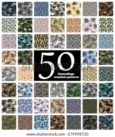 Set of Seamless Camouflage Pattern Vector - stock vector