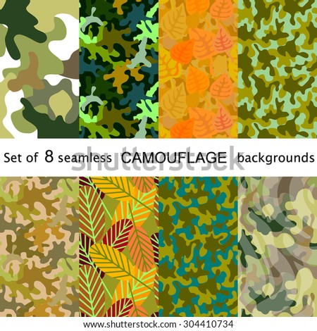 Set of 8 seamless camouflage patterns. Autumn leaves, spots, swamp. Green, khaki, yellow, white, brown. Abstract vector backgrounds. Backgrounds & textures shop - stock vector
