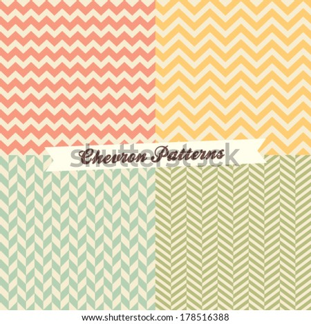 Set of 4 seamless chevron patterns - stock vector