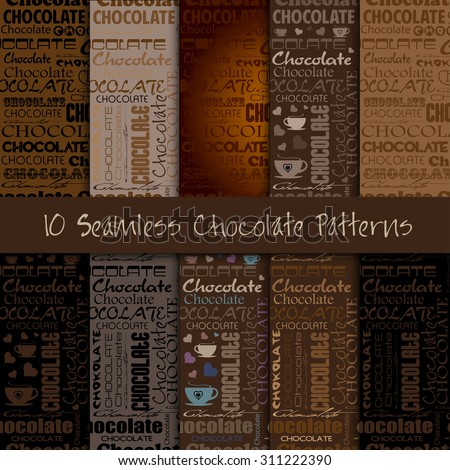 Set of Seamless Chocolate patterns with word of chocolate and different fonts.  Style for chocolate house, restaurant, cafe, bar. Vector illustration. - stock vector