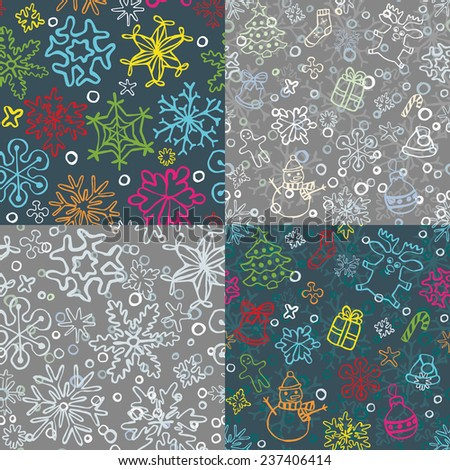 set of 4 seamless christmas  pattern of drawn by hand snowflakes and symbols for merry christmas cards and backgrouns, vector eps 8 - stock vector