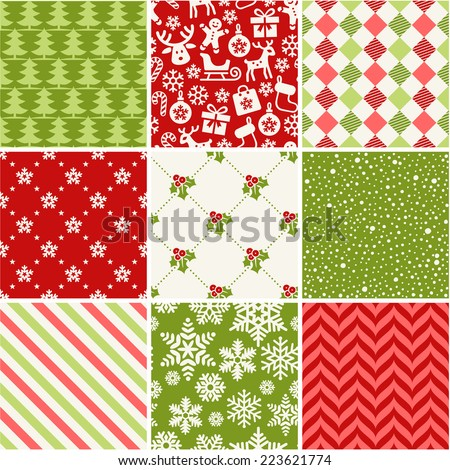 Set of seamless christmas patterns - stock vector