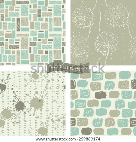 set of 4 seamless colorful doodle pattern in blue and brown - stock vector