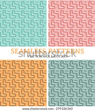 Set of Seamless Curved Lines Pattern. Modern Colorful Vector Backgrounds for Textile Design - stock vector