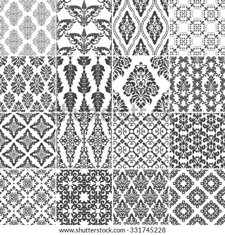 Set of 16 seamless damask patterns. Classic black and white wallpapers. Vintage vector backgrounds. - stock vector