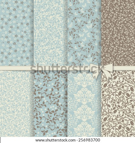 set of seamless damask patterns in blue and brown - stock vector