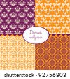 set of seamless damask wallpapers - stock vector