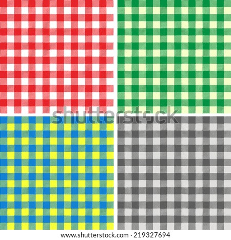 Set of seamless different color backgrounds tablecloth in Italian style - stock vector