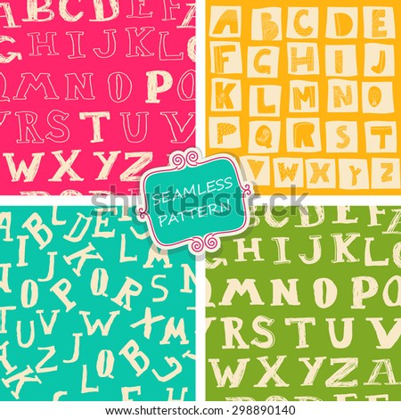 set of seamless doodle alphabet on colorful background - stock vector