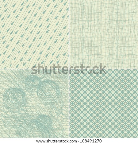 set of 4 seamless doodle backgrounds in two vintage colours