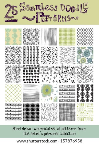 Set of 25 Seamless Doodle Patterns - Whimsical hand drawn seamless patterns, including raindrops, stripes, checks, rings, floral, scales and fishnet - stock vector