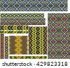Set of seamless editable colorful geometric ethnic patterns for embroidery stitch. - stock vector