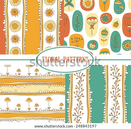 Set of seamless floral pattern (vector)