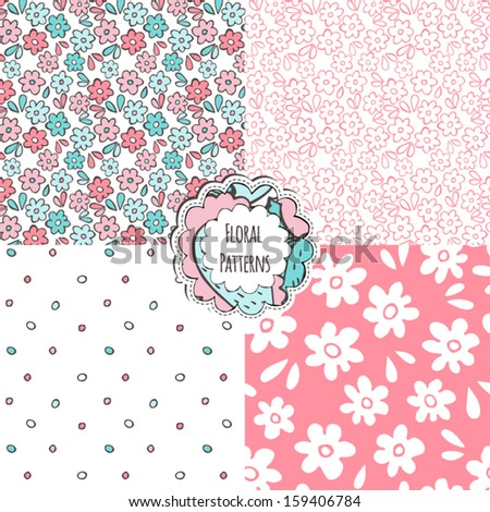 Set of seamless floral patterns. - stock vector