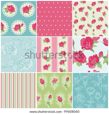 Set of Seamless Floral Rose backgrounds - in vector - stock vector