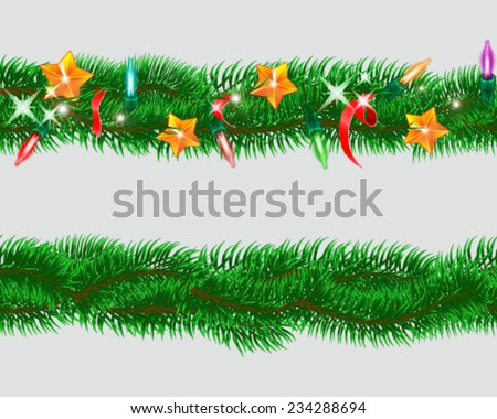 Set of seamless garland of fir branches with Christmas toys. Vector illustration. - stock vector