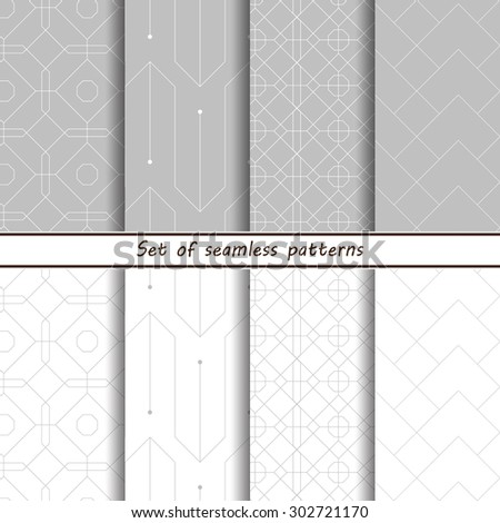 Set of 10 Seamless Geometric Background Patterns. Vector Illustration,linear pattern, white with gray - stock vector