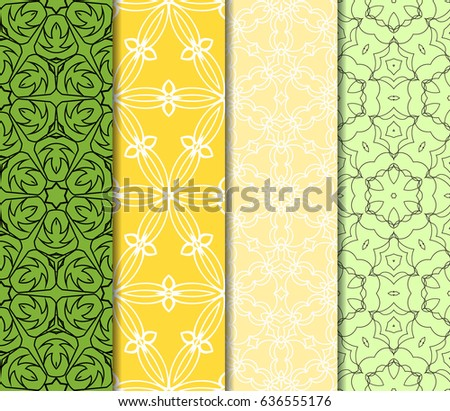 Set 4 seamless geometric floral background stock vector 2018 set of 4 seamless geometric floral background luxury texture for wallpaper invitation vector stopboris Image collections