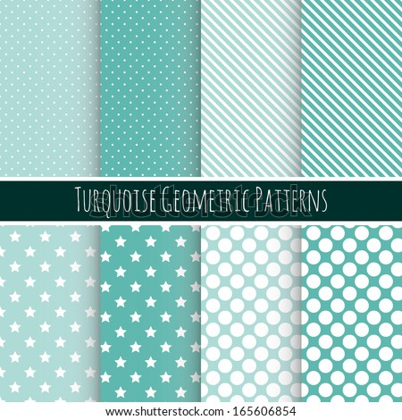 Set of 8 seamless geometric patterns. Can be used for wallpaper, pattern fills, web page background, surface textures - stock vector
