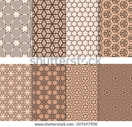 set of 8 seamless geometric patterns. Elements of circles, stars, cube. Vector illustration. For Wallpaper, Texture Fill, promotional materials, textile prints. Beige color