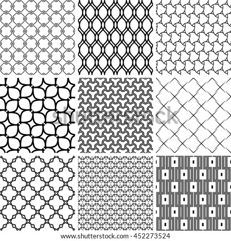 Set of seamless geometric patterns for your designs and backgrpounds. Modern vector ornaments with repeating elements. Black and white patterns