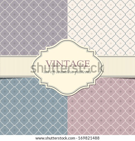 Set of seamless geometric patterns with vintage frame - stock vector