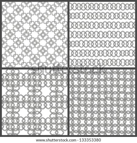 Set of seamless hand drawn chain patterns. Vector illustration