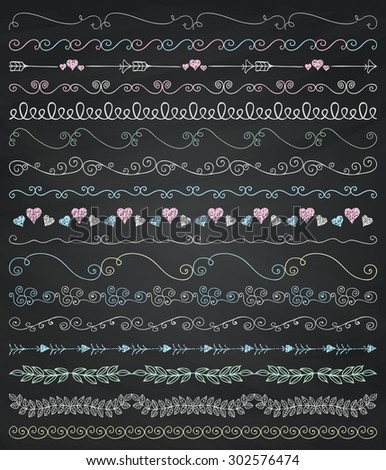 Set of Seamless Hand Sketched Artistic Rustic Decorative Doodle Vintage Borders and Frames, Branches and Brackets. Design Elements.  Chalk Drawing Vector Illustration. Pattern Brushes, Board Texture. - stock vector