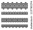 Set of seamless lace borders, vector illustration - stock vector