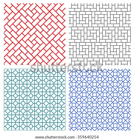 Set of seamless mesh line pattern in korean style