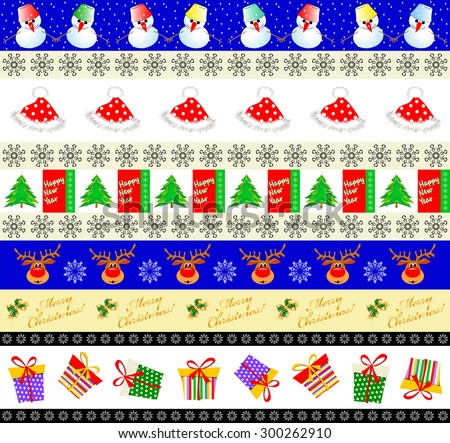 Set of seamless New Year's and Christmas patterns (eps10). Bright borders with amusing snowmen, snowflakes, hat, heads of deer and boxes - stock vector