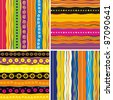 Set of 4 seamless patter. Colorful abstract background. Strip pattern. Vector illustration. - stock photo