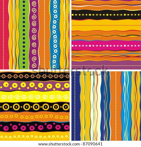 Set of 4 seamless patter. Colorful abstract background. Strip pattern. Vector illustration. - stock vector