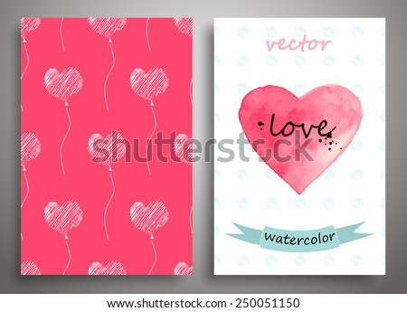 Set of seamless pattern and Valentine's Day card, watercolor,art design, vector - stock vector