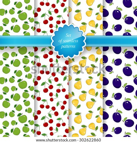 Set of Seamless Pattern of Fruit, Fruit Background, Green Apples, Red Cherries, Yellow Pears, Blue - Purple Plums, Vector Illustration - stock vector