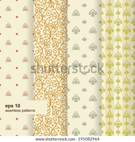 Set of 4 seamless pattern. Ornamental flowers. Vector. - stock vector