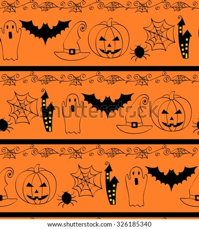 Set of seamless pattern. Print for Halloween. Vector illustration.