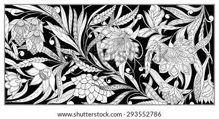 Set Seamless Pattern Vintage Decorative Flowers Stock Vector ...