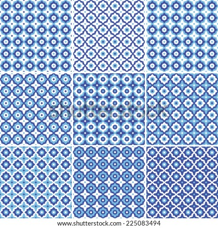 Set of seamless pattern,white and blue ceramic tile with floral ornate.Endless texture.vector  - stock vector
